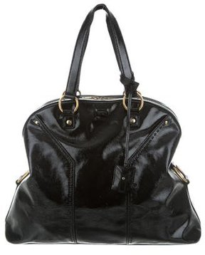 Saint Laurent Vernice Leather Muse Tote - BLACK - STYLE