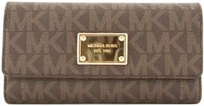 Michael Kors Brown Signature Canvas Jet Set Checkbook Wallet (New with Tags) - BROWN - STYLE