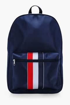 boohoo Navy Nylon Contrast Stripe Backpack