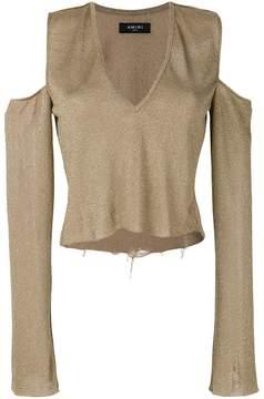 Amiri cold-shoulder distressed blouse