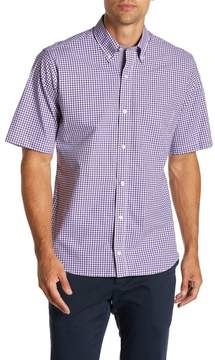Tailorbyrd Short Sleeve Gingham Print Trim Fit Dress Shirt