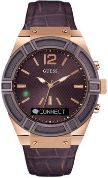 GUESS Men's Analog-Digital Connect Brown Leather Strap Smart Watch 45mm C0001G2