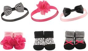Hudson Baby Black & Pink Headband & Socks Set - Infant