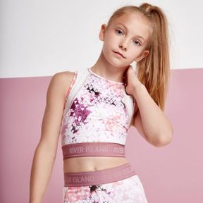 River Island Girls pink geo print racer back crop top
