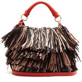 Diane von Furstenberg Raffia fringe bucket bag