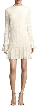 Shoshanna Heatherley Flounce High-Neck Long-Sleeve Lace Dress