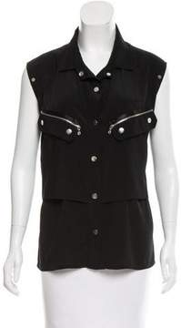 Anthony Vaccarello Sleeveless Button Up Top
