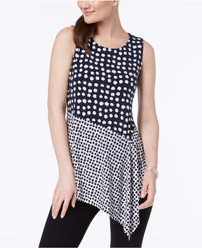 Alfani Asymmetrical-Hem Mixed-Print Tunic, Created for Macy's