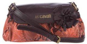 Just Cavalli Embossed Leather Shoulder Bag