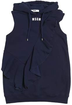 MSGM Ruffed Cotton Sweatshirt Dress