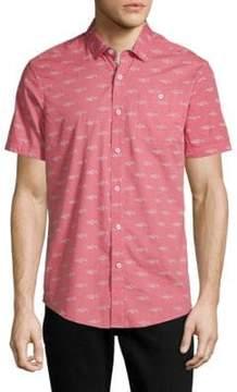 Report Collection Shark-Print Cotton Button-Down Shirt