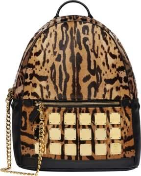 MCM Stark Logo Plate Backpack In Leopard Haircalf