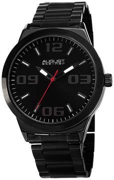 August Steiner Mens Black Strap Watch-As-8134bk