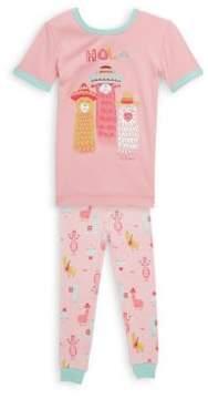 Petit Lem Little Girl's Two-Piece Hola Llama Pajama Set