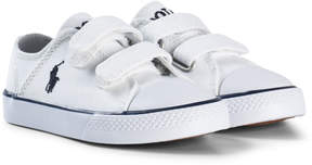 Ralph Lauren White Canvas Velcro Trainers with Navy Pony