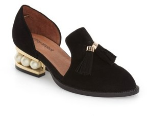 Jeffrey Campbell Women's 'Civil' Pearly Heeled Beaded Tassel Loafer