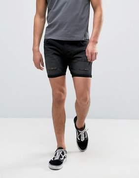 Brave Soul Distressed Black Denim Shorts