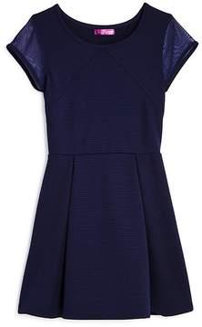 Aqua Girls' Textured Cap-Sleeve Dress, Big Kid - 100% Exclusive