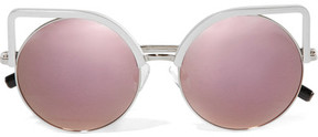 Matthew Williamson Cat-eye Silver-tone Mirrored Sunglasses - Purple