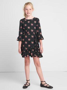 Gap Floral asymmetrical ruffle wrap dress