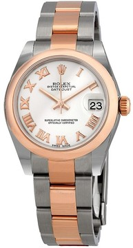 Rolex Oyster Perpetual Datejust White Dial Automatic Stainless Steel and 18 Carat Everose Gold Ladies Watch