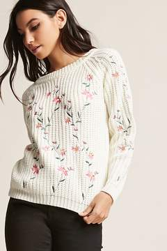 Forever 21 Floral Embroidered Sweater