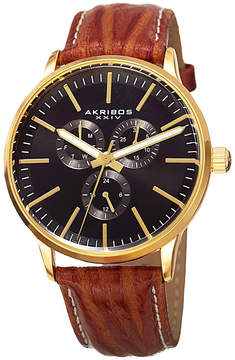 Akribos XXIV Mens Brown Strap Watch-A-838yg
