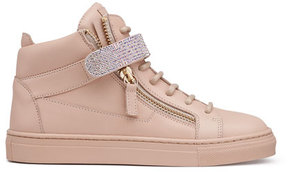 Giuseppe Zanotti Leather Crystal-Strap High-Top Sneaker, Pink, Youth