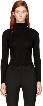 Balmain Black Buttoned Turtleneck