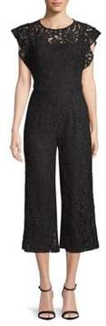 Donna Ricco Lace Flutter-Sleeve Jumpsuit