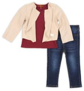 7 For All Mankind Toddler's Three-Piece Slouchy Cardigan, V-Neck Tee & Skinny Jeans Set