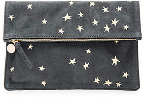Clare V. Margot Supreme Foldover Clutch in Charcoal.