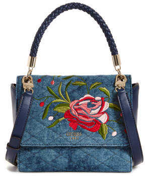 GUESS Heather Embroidered Flap Satchel