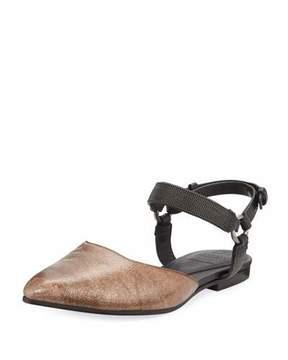 Brunello Cucinelli Metallic Leather Mule w/ Monili Ankle Strap