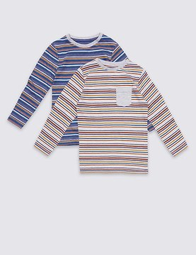 Marks and Spencer 2 Pack Cotton Rich Striped Tops (3 Months - 5 years)