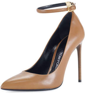 Tom Ford T-Bar Leather 105mm Pump, Brown