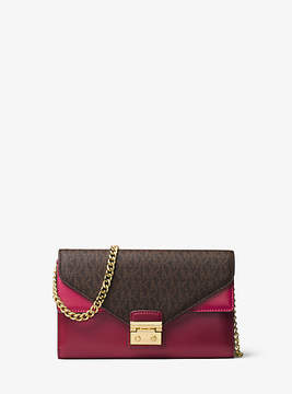 Michael Kors Sloan Logo And Leather Chain Wallet - BROWN - STYLE