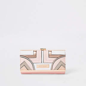 River Island Light pink geo panel cutabout cliptop purse