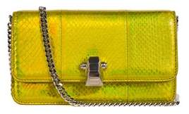 Roberto Cavalli Gold Holographic Leather Snake Embossed Shoulder Bag