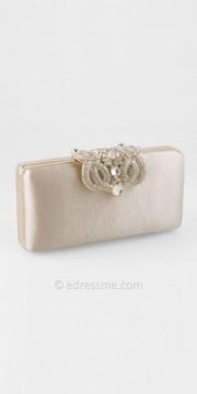 Camille La Vie Small Satin Box Handbag With Fold Over Brooch