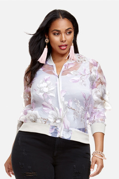 Fashion to Figure Catherine Sheer Floral Bomber Jacket
