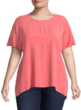 Boutique + + Short Sleeve Scoop Neck Woven Blouse - Plus