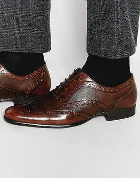Red Tape Etched Brogues In Brown Leather