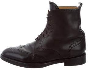Hermes Brogue Lace-Up Ankle Boots
