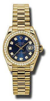 Rolex Lady-Datejust 26 Blue Dial 18K Yellow Gold President Automatic Ladies Watch