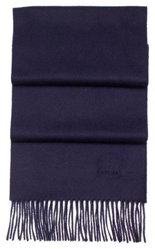 Aspinal of London Pure Cashmere Scarf In Navy Blue
