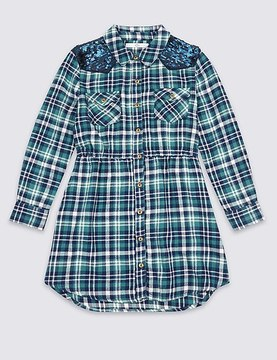 Marks and Spencer Checked Pure Cotton Shirt Dress (3-14 Years)