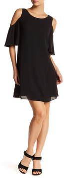 Chelsea28 Cold Shoulder Flutter Sleeve Dress