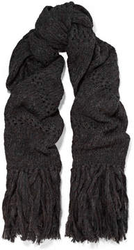 Isabel Marant Dylan Oversized Fringed Open-knit Scarf - Charcoal