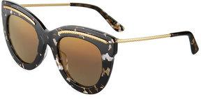 Bottega Veneta Wide Printed Cat-Eye Sunglasses, Gray